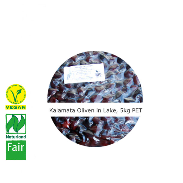Kalamata Oliven in Lake, BIO, Vegan, Naturland Fair, 5kg (PET Beutel)