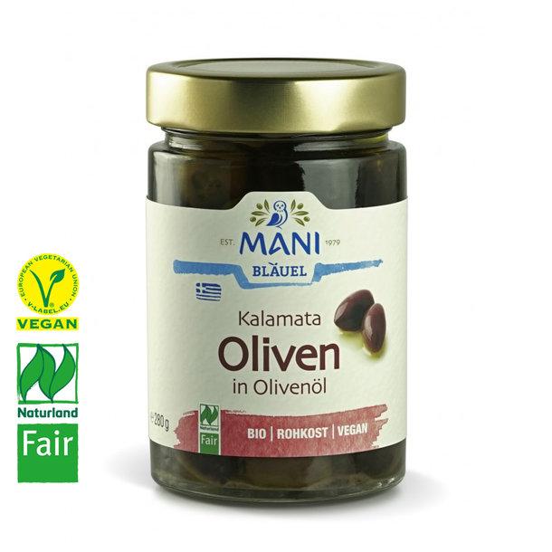 Kalamata Oliven in Mani-Olivenöl, Bio, Vegan, Naturland Fair