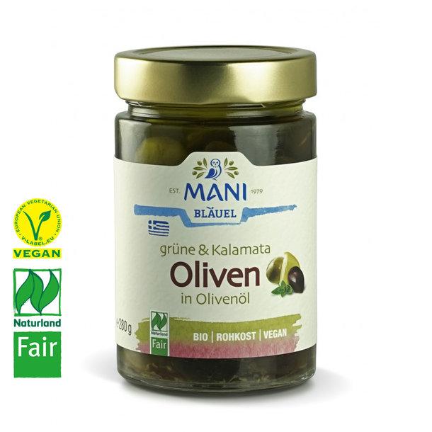 Grüne & Kalamata Oliven in Mani-Olivenöl, Bio, Vegan, Naturland-Fair
