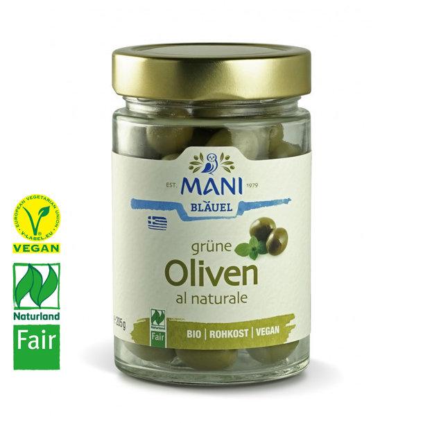 Grüne Oliven al Naturale, BIO, Vegan, Naturland Fair