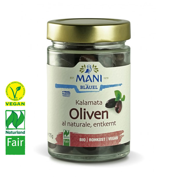 Kalamata Oliven al naturale, entsteint, BIO, Vegan, Naturland Fair