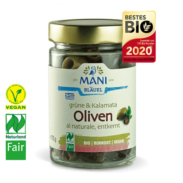 Green & Kalamata Olives al naturale, pitted, Organic, Vegan, Naturland-Fair